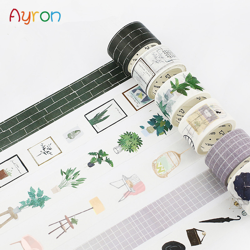 15-30mmX7m Nordic Series Kawaii Girl Decorative Home Plant Washi Tape DIY Scrapbooking Masking Tape School Office Adhesive Tapes(China)