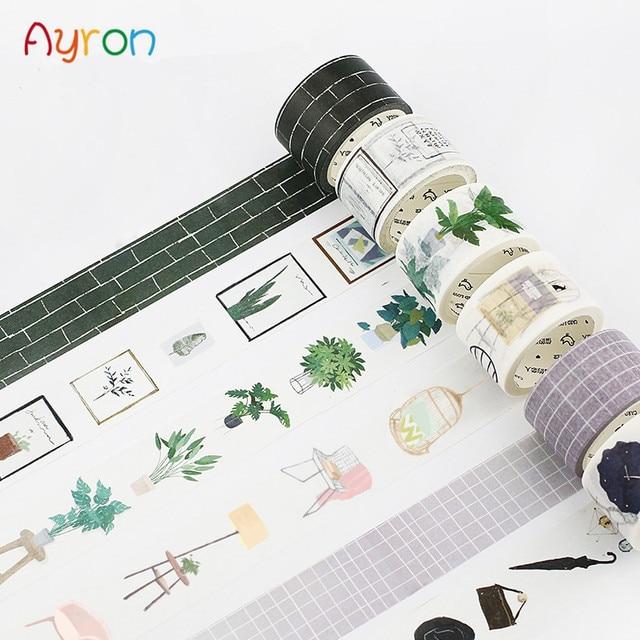 15-30mmX7m serie nórdica Kawaii chica decorativa casa planta Washi cinta DIY Scrapbooking cinta adhesiva escuela Oficina cintas adhesivas