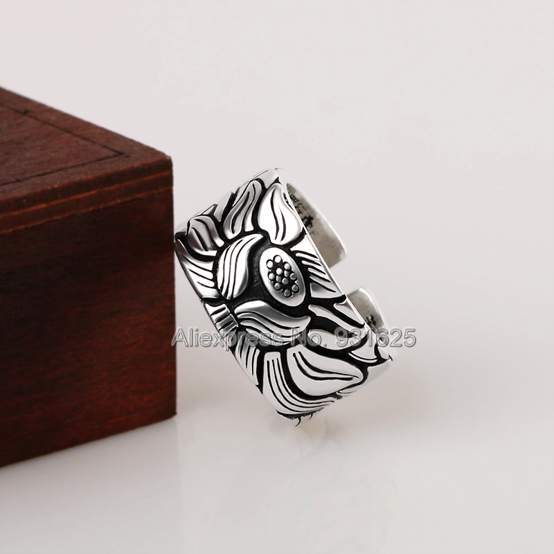 Trendy White Copper Carved Lotus Flower Open Buddhism Ring Adjustable Punk Style Heart Sutra Ring Jewelry For Woman Man Rings
