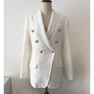 Image 2 - Veste en Tweed avec col châle pour femmes, veste de styliste, haut de gamme 2020, col châle, boutons lions croisés