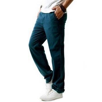 ผู้ชายฤดูร้อนผ้าลินินฝ้าย Casual กางเกงบางออกกำลังกาย Sweatpants กางเกงตรง Plus ขนาด 5XL - MX8