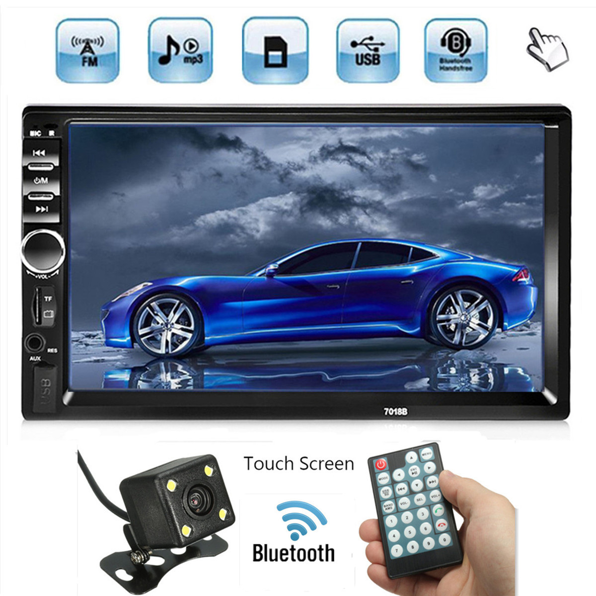7'' Touch Screen 2 Din Car Radio Bluetooth 2 Din Auto Audio Player Stereo Bluetooth MP5 Support FM/MP5/USB/AUX Rear View Camera оперативная память 8gb pc3 12800 1600mhz ddr3 dimm foxline fl1600d3u11l 8g