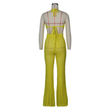 Summer Fishnet Knitted Two Piece Set Women Sexy See Through Night Club Suits Bra Top Pants Casual Beach Outfits