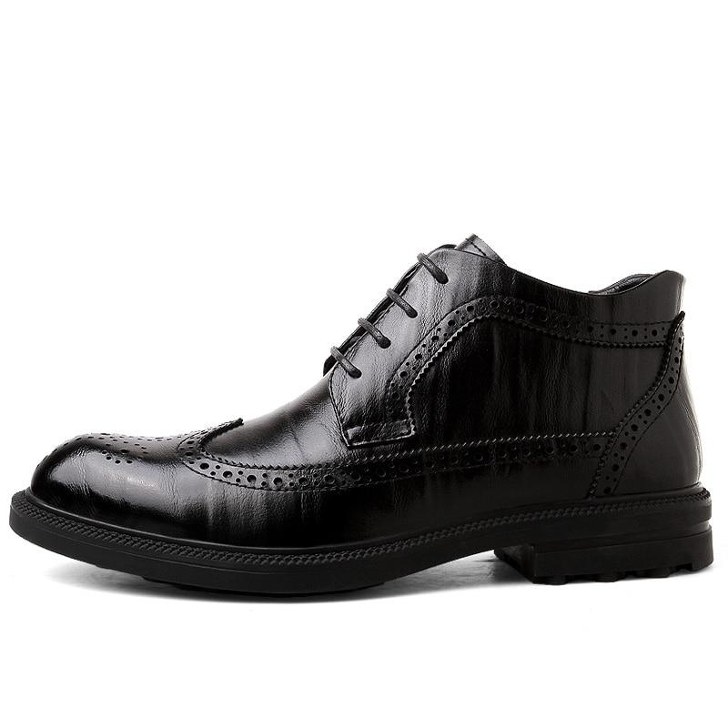 Estilo Lace Black ever De Britânico Vaca Couro brown Sapatos up Botas Pele Inverno Yd Casuais Primavera Homens inverno OzdaRqBR