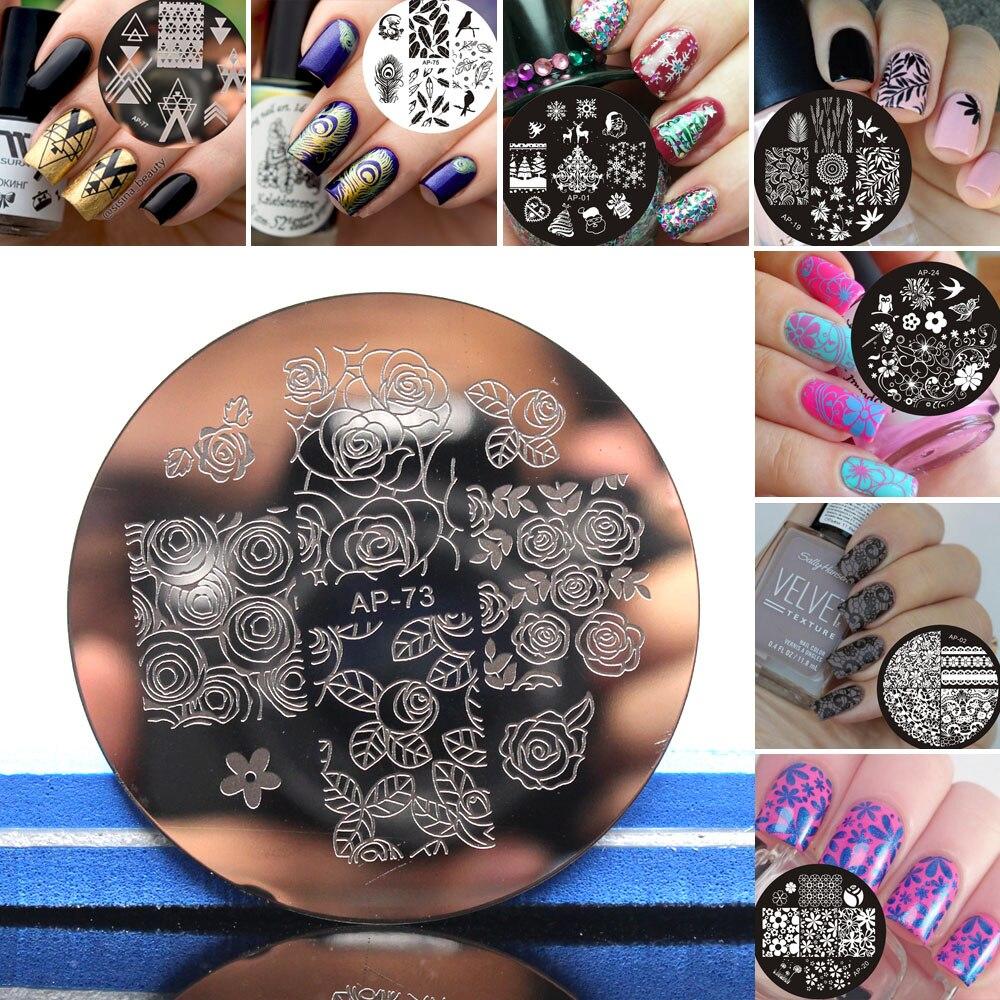 2019 New Series Stamping Plates Nail Stencil Nail Art Image Plate Template Nail Disk Stamping Plates