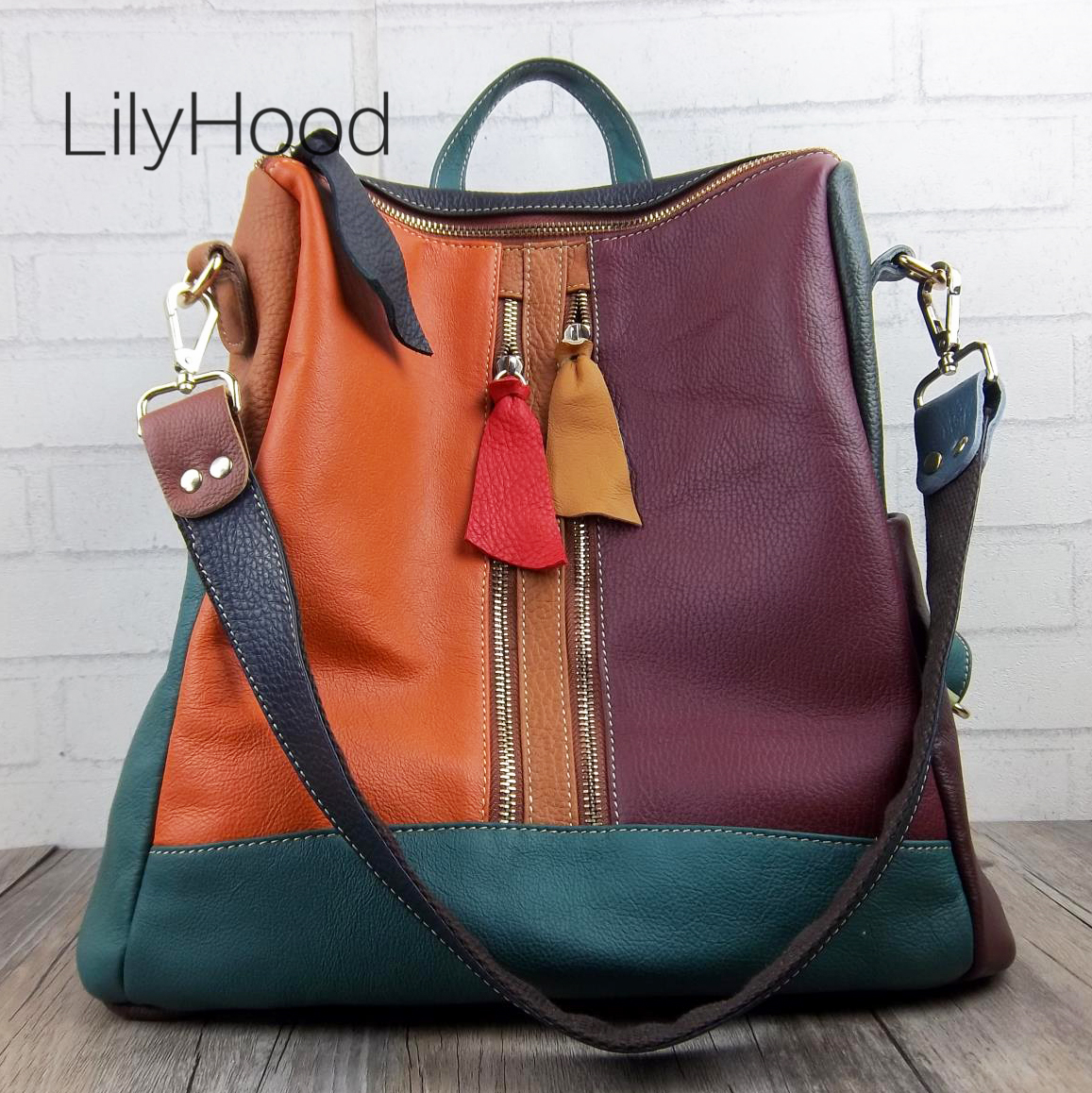 Multicolor Genuine Leather Backpack Women High Quality Natural Leather Knapsack for School Female Soft Leather Sling