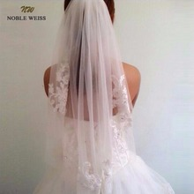 NOBLE WEISS In Stock Short One Layer waist length beaded Diamond appliqued white or ivory wedding veil bridal veils(China)