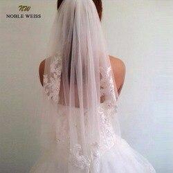 NOBRE WEISS Em Estoque Curto Uma Camada comprimento da cintura Diamante frisado appliqued véu branco ou marfim casamento véus de noiva