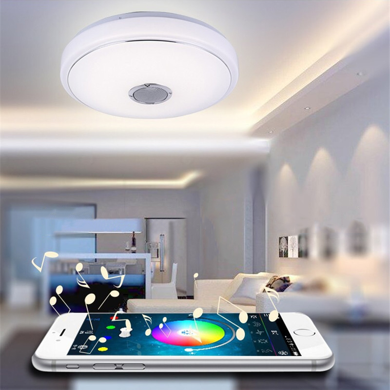 Music LED Ceiling Light With Bluetooth Control Color Changing Lighting Flush Mount Lamp For Bedroom Ceiling Light FixturesMusic LED Ceiling Light With Bluetooth Control Color Changing Lighting Flush Mount Lamp For Bedroom Ceiling Light Fixtures