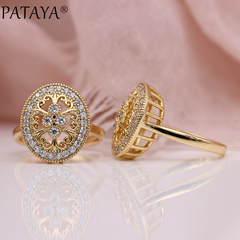 PATAYA New Micro Wax Inlay Hollow Rings Women Luxury Wedding Fine Fashion Jewelry 585 Rose Gold Natural Zircon Flower Oval Ring(China)