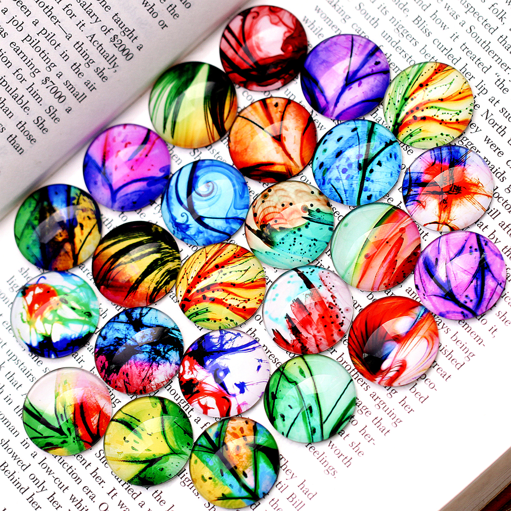 (40PCS 12mm) Round Glass Cabochon DIY For jewelry finding Cameo Setting,Dome Flat Back Beads-(224)
