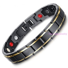 8.66″ 12mm Top Quality New 316L Stainless Steel Gold Black Magnetic Stone Healty-care Chain Bracelet Jewelry Men Womens Gift