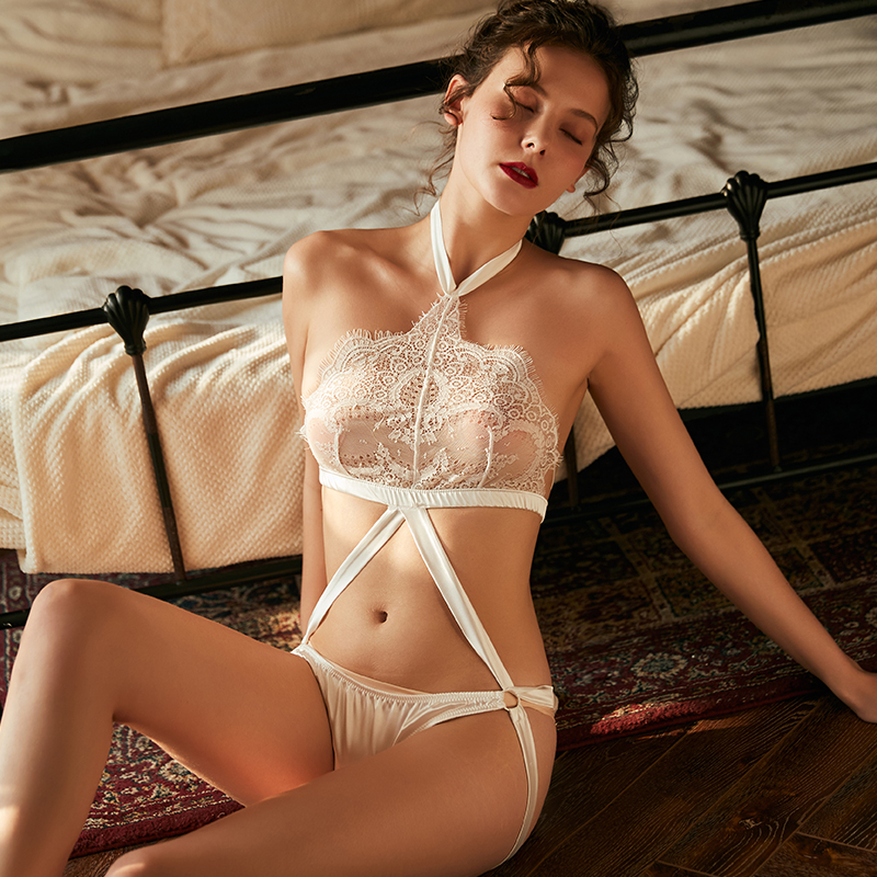 Bra Panty Collar Sexy Underwear Set Lace Embroidery Sexy Women Temptation Intimates Bikini Open Bra Thong Erotic Lingerie Sets