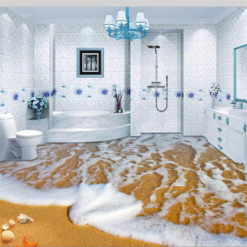 beibehang Custom flooring 3d beautiful sea view beach sprawling starfish shell 3D floor three-dimensional painting 3D flooring beibehang home bathroom bedroom floor self adhesive wallpaper beach beach waves surfing 3d floor tiles painting 3d flooring