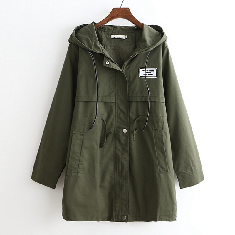 Women Windbreaker Coat Spring Autumn New Wild Thing Hooded   Trench   Coat Women Plus size 6XL Long Overcoat Women Casual Tops AA620