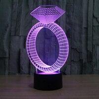 Chiếc Nhẫn kim cương 3D Ảo Tưởng Led Bảng Đèn USB Cảm Ứng Magical Làm Dịu Ngủ Ban Đêm Ánh Sáng Trang Trí Ngày Valentine Quà Tặng