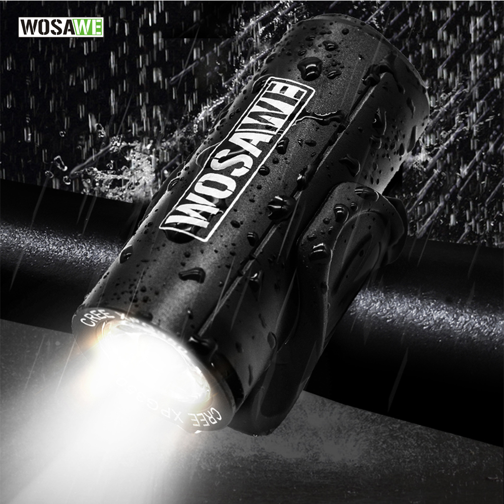 WOSAWE Bike Light Waterproof Aluminum USB Charging Smart Cycling Bicycle Flashlight Warning Light LED Front Lights And Taillight