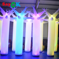 10 Feet High Inflatable LED Pillar Inflatable LED Tree Glow In The Dark With Blower For