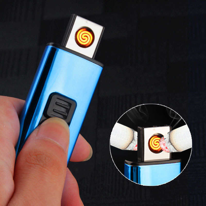 Personality Cool Windproof USB Charging Touch Induction Double Arc Lighters Pulse Plasma Cigarette Lighter Gadgets for Men
