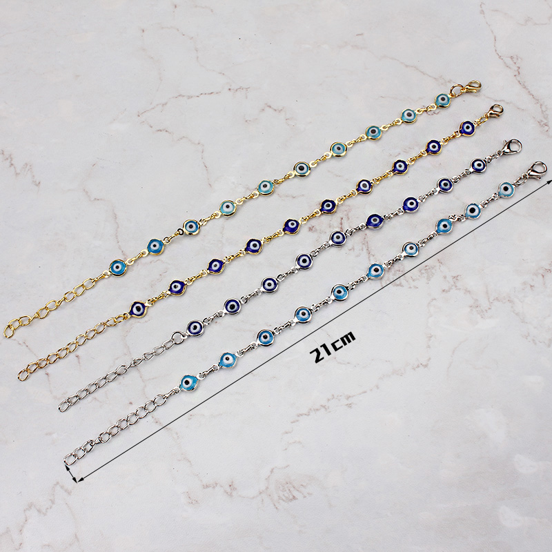 2017 jualan panas rantai emas biru / biru muda mata jahat bertuah mata manik pesona gelang gelang wanita