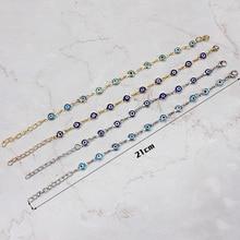 2017 hot sale gold chain blue/light blue evil eye lucky eye bead charms bracelet