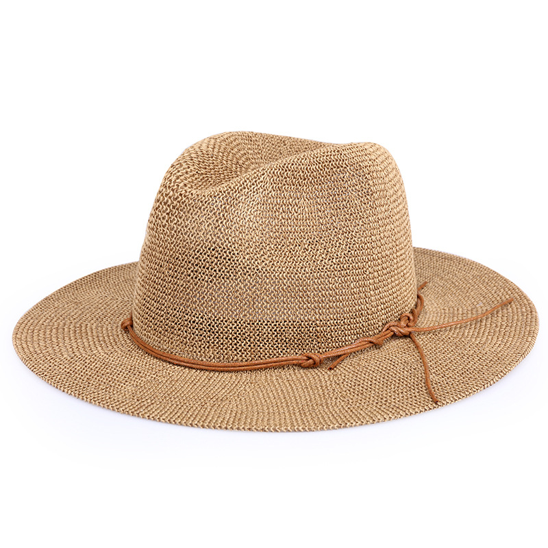 Newest Hollow Breathable Wide Brim Sun Hat Men Straw Panama Hats Casual Summer Beach Cap Solid Color Women Flat Brim Jazz Caps in Men 39 s Sun Hats from Apparel Accessories