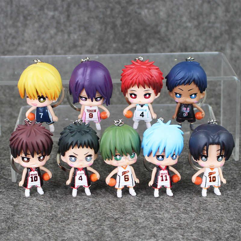 9 pcs/lot Kuroko pas de panier Tetsuya Kuroko Ryota Taiga Kagami Daiki Atsushi Seijuro porte-clés Figure de Basket jouet porte-clés
