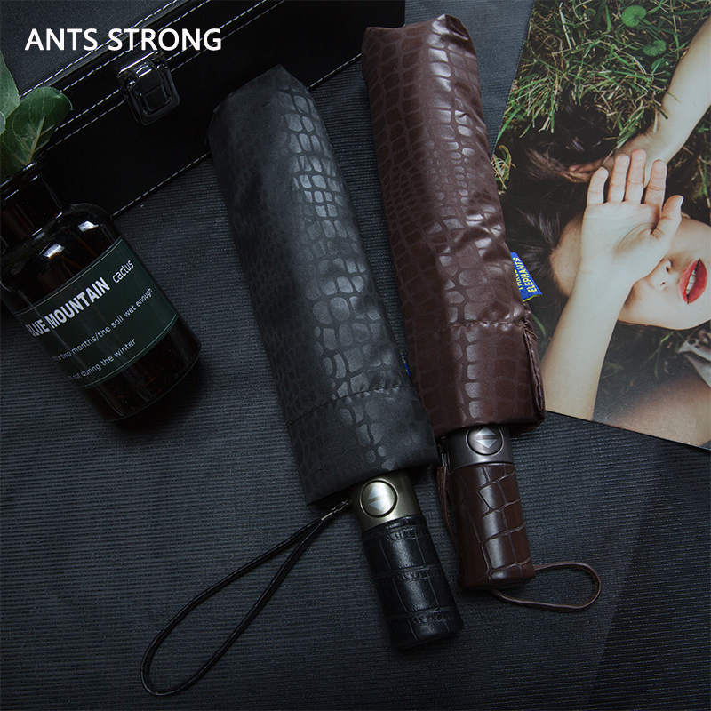 ANTS STRONG High end men's crocodile umbrella/Creative Business Full Automatic parasol Foldable Tri fold