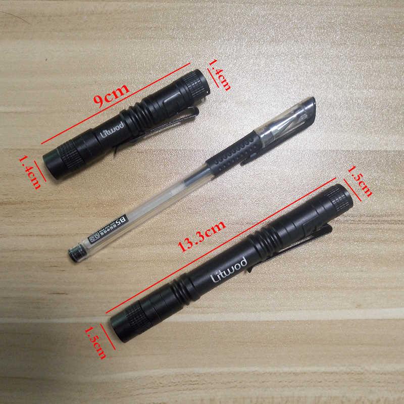 Litwod Z90 + Mini latarka w kształcie długopisu latarka LED XP-E Q5 latarka 1000LM kieszeni światła wodoodporna latarka bateria AAA Led na kemping piesze wycieczki