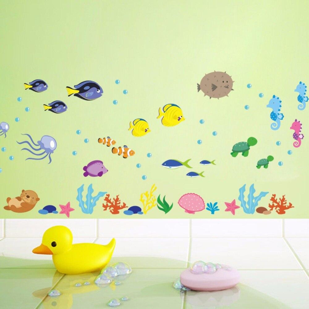 Marine life Wall Stickers for Kids room Bathroom Nursery Wall Decor ...