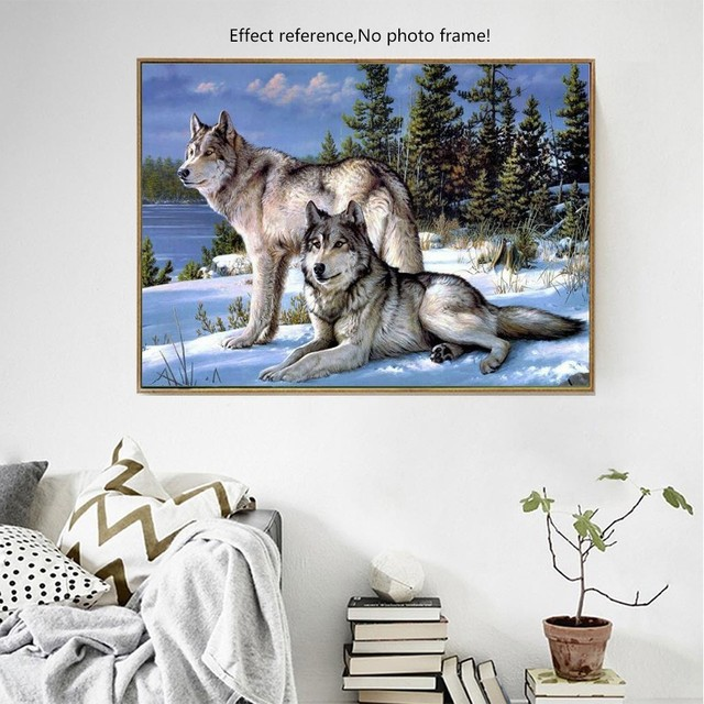 Huacan Full Square Diamond Painting Wolf Animal Diamond Embroidery Needlework Diamond Mosaic Rhinestones Hobby Home Decor