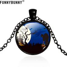 FUNNYBUNNY Vintage Halloween Cabochon Tibetan silver Glass Chain Pendant Necklace Party favors Clothing accessories