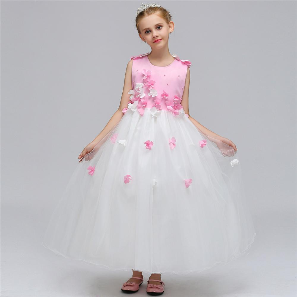 Net Yarn Princess Dress Soft Girls Dress Wedding Party Kids Long Section Girls Dress Sleeveless Baby Girl Clothes original brand lalaloopsy dress yarn design false two dumbo sleeve queen girls party striped dress school girls princess dress
