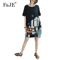 F JE 2017 Summer New Fashion Women Loose Casual Short Sleeve Brand Dress Cotton Linen Patchwork