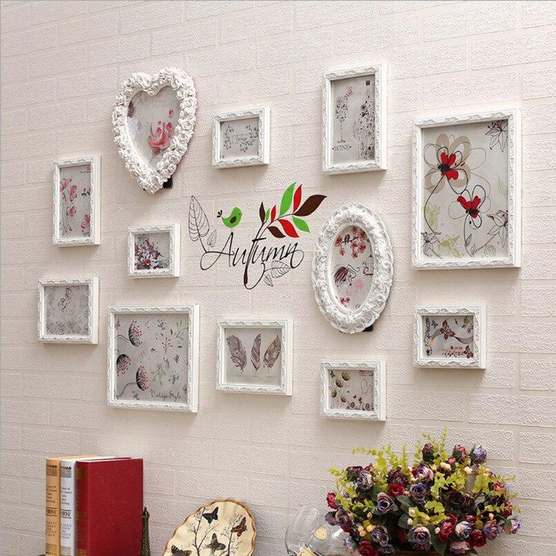 14 pcs wood carving living room photo wall frame setbedroom sofa background frame setwhite romantic wedding wreath frame set