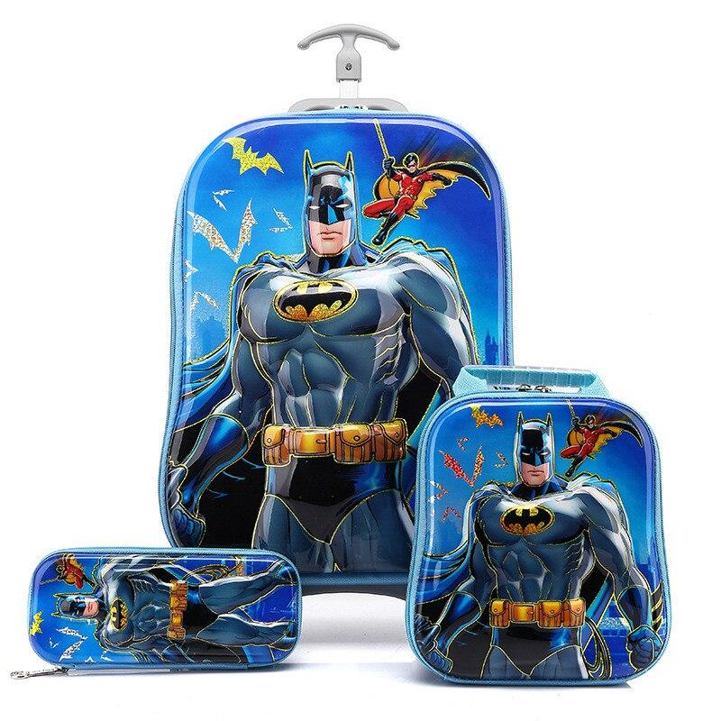 3D Batman Luggage School Bag Set Boy/Kid Captain America Travel ...