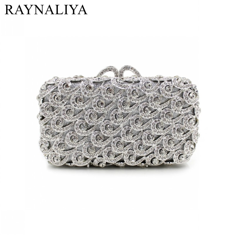 New Fashion Minaudiere Women Sliver Crystal Bag Ladies Evening Clutch Bags Hollow Rthinestone Party Cluthes Smyzh-e0124 new fashion women minaudiere fashion evening bags ladies wedding party floral clutch bag crystal diamonds purses smyzh e0122 page 5