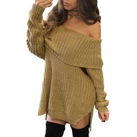 New Arrivals 2017 Autumn Winter Dresses Long Sleeve Side Slit Sexy Thick Knitted Off Shoulder Sweater
