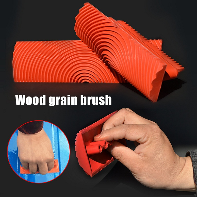Red Rubber Round Wood Grain Wheel Brush Wall Texture Art Paint Tools For DIY Wall Decoration 3-Inch 6-Inch