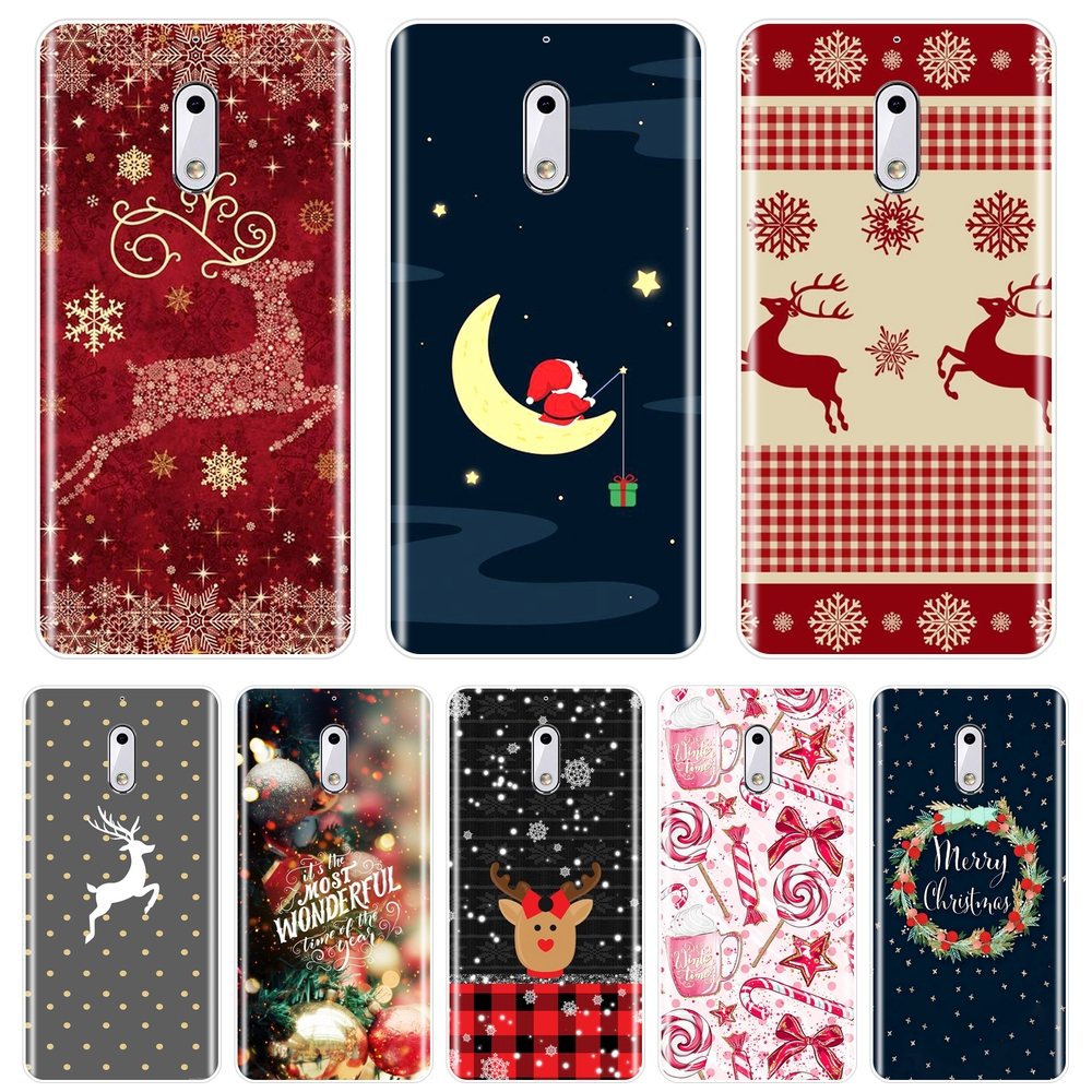 Phone Case For <font><b>Nokia</b></font> <font><b>8</b></font> 6 5 3 2 1 Silicone Soft Christmas Deer Snow <font><b>Back</b></font> <font><b>Cover</b></font> For Nokia6 Nokia5 Nokia3 Nokia2 <font><b>Nokia</b></font> X6 7 Plus image