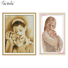 Joy Sunday Mother and Son Stamped Cross Stitch Kits People Aida Canvas 14CT11CT DMC Embroidery Kit DIY Needlework
