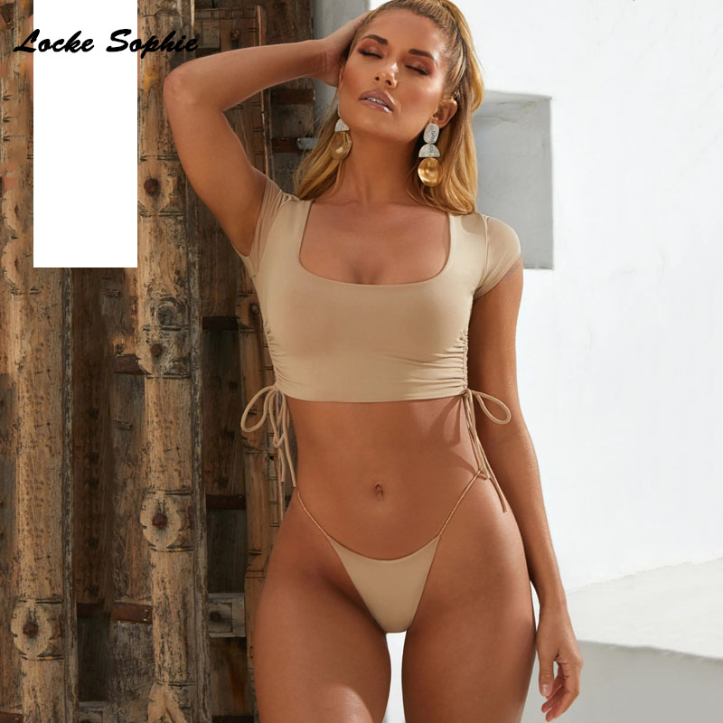 2piece Set Women's Sexy Tops And Shorts 2019 Summer Cotton Blend Splicing Bandage Out Super Bikini Suits Set Ladies Suit Twinset