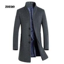 ZOEQO, мужское шерстяное пальто, приталенное, для мужчин, средней длины, пальто и куртки, одноцветное, мужское шерстяное пальто, куртки, верхняя одежда