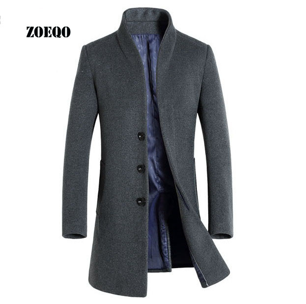 ZOEQO Men's Wool Coat Slim Fit Men Middle Long Coats And Jackets Solid Color Men's Wool Coat Jackets Outerwear