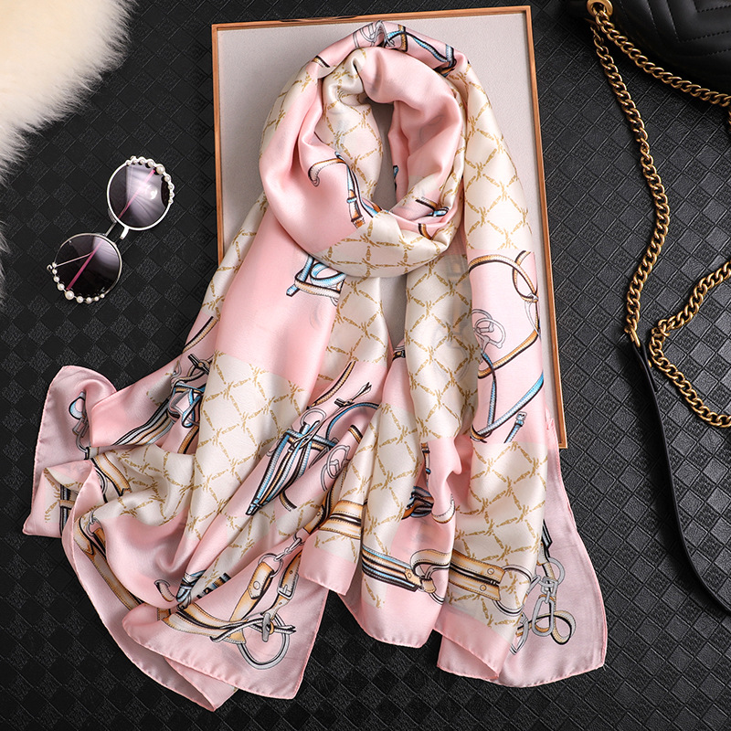Luxury brand designer silk   scarf   women 2019 new spring summer shawls and   wraps   soft long pashmina foulard bandana ladies   scarves