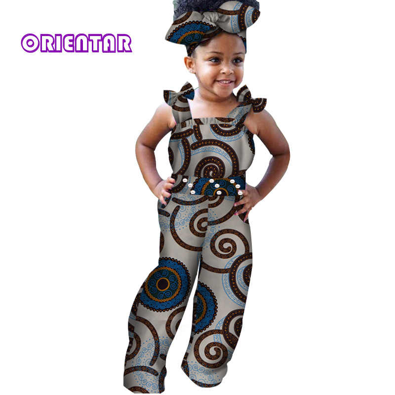 fbf09bb7ea5 ... Fashion African Clothes for Children Baby Girls Long Jumpsuit African  Print Bazin Riche Sleeveless Rompers Kids ...