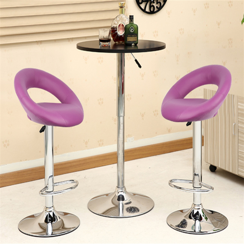 2Pcs/set Home Adjustable Bar Table Stools Modern Synthetic Leather Swivel Bar Chair Pneumatic Heavy-duty Counter Pub Chair HWC