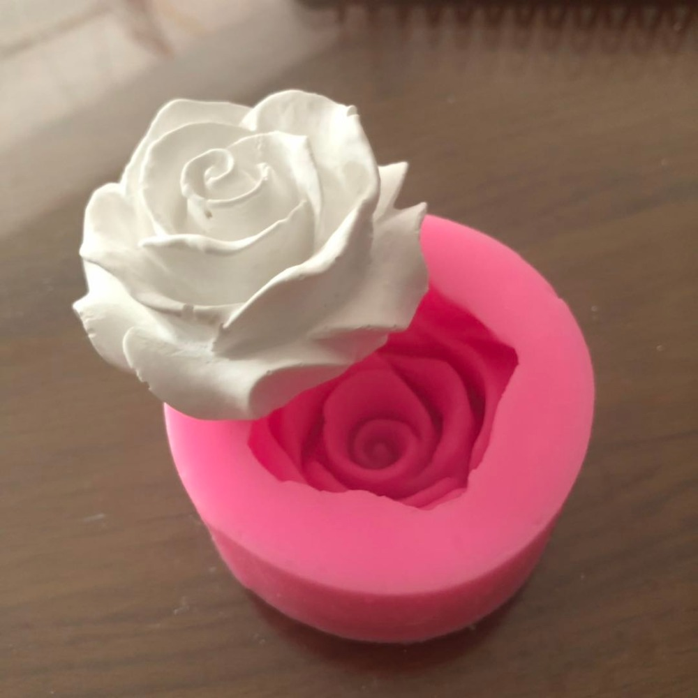 Flower Bloom Rose shape Silicone Fondant Soap 3D Cake Mold