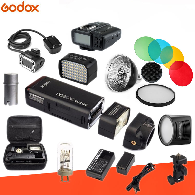 Godox AD200 Kit 200Ws 2.4g TTL Poche Flash Stroboscopique 1/8000 HSS Sans Fil Monolight 2900 mah Lithimu Batterie et Nu ampoule/Speedlite