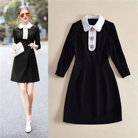 Italian Style 2018 Spring Peter Pan Collar Three Quarter Sleeve Bead Button White Collar Black Casual